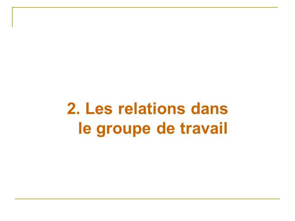 2. Les relations dans le groupe de travail