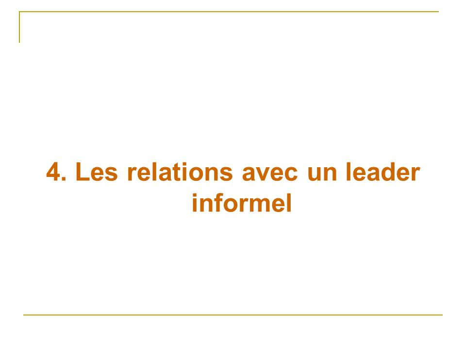 4. Les relations avec un leader informel