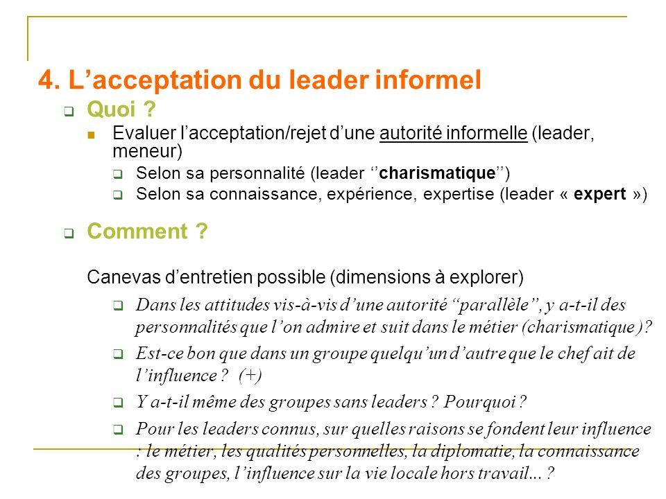 4. L'acceptation du leader informel