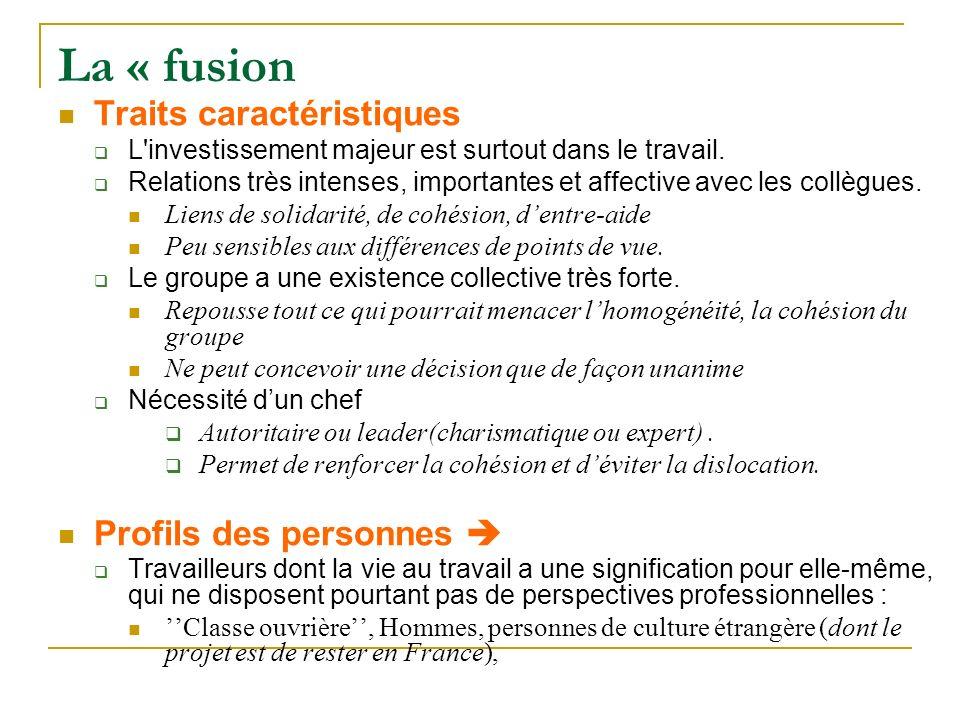 La « fusion Traits caractéristiques Profils des personnes 