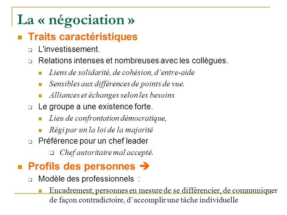 La « négociation » Traits caractéristiques Profils des personnes 