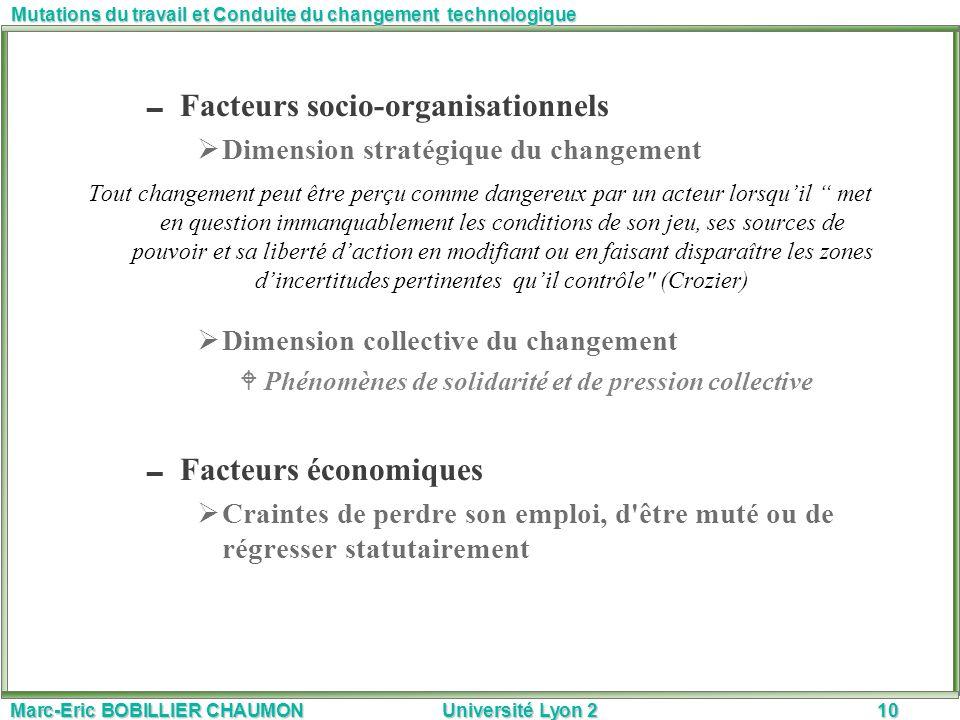 Facteurs socio-organisationnels