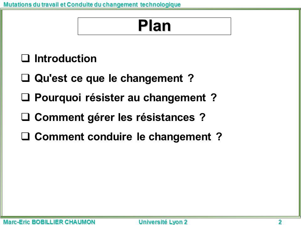 Plan Introduction Qu est ce que le changement