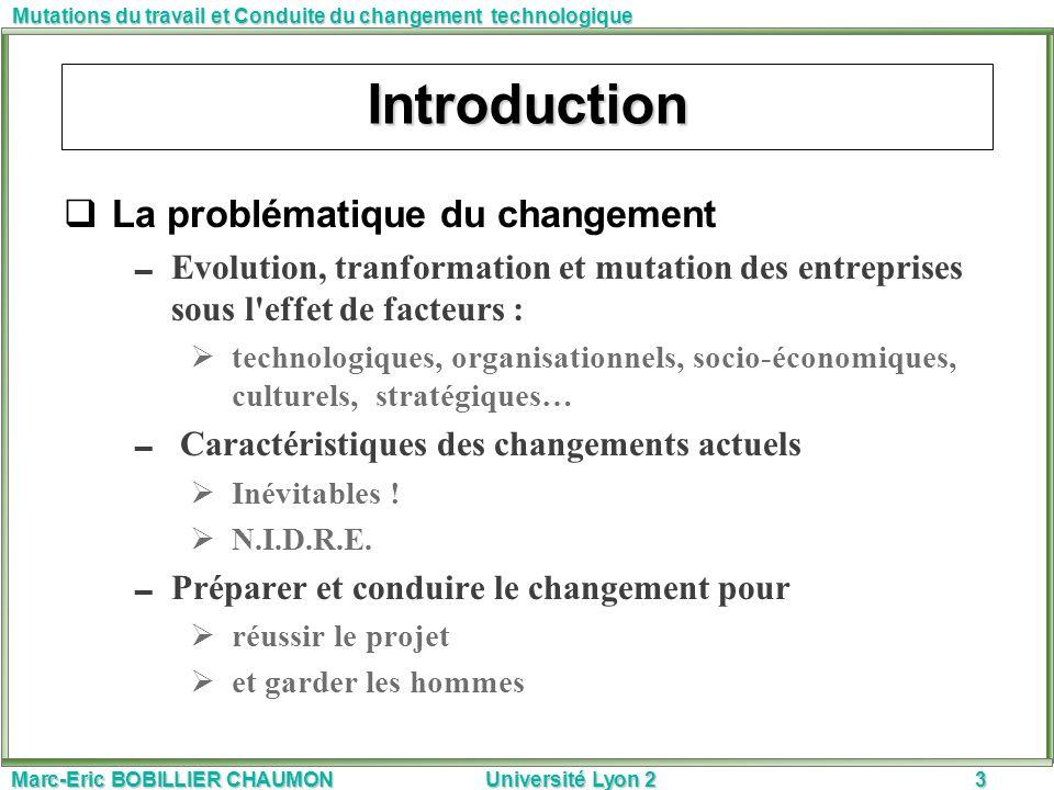 Introduction La problématique du changement