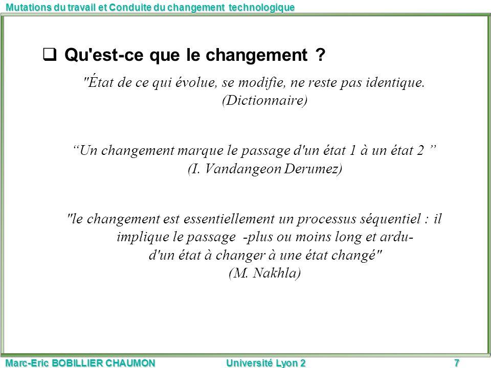 Qu est-ce que le changement