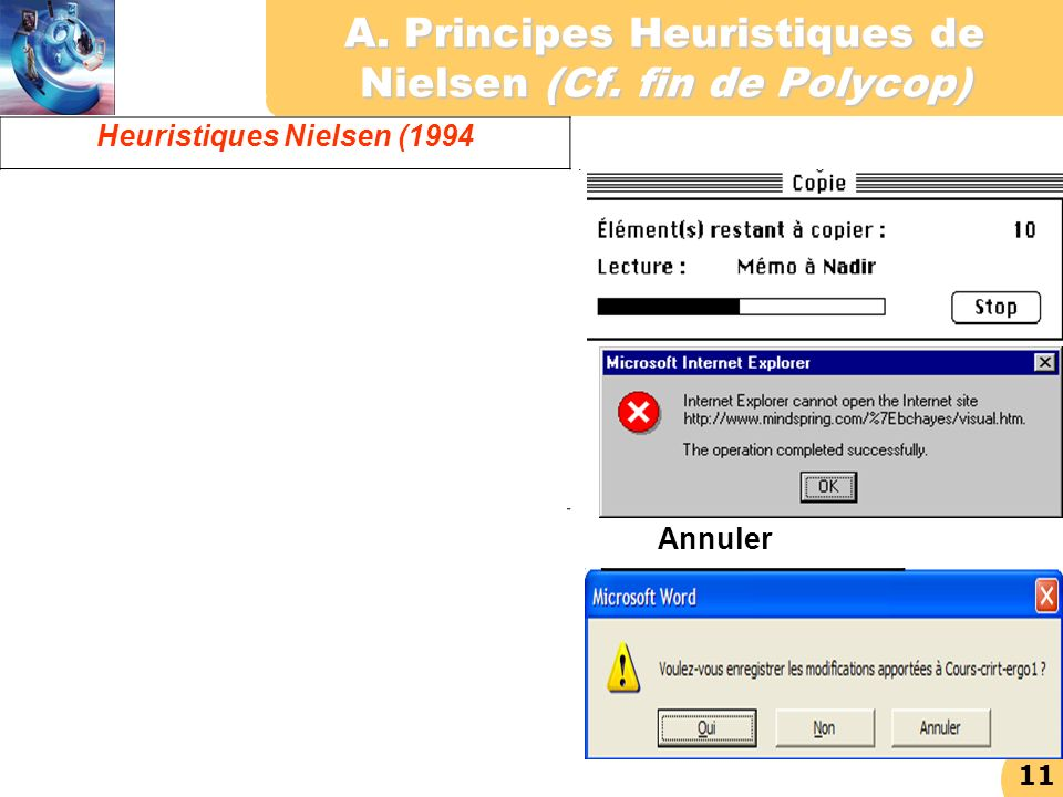 A. Principes Heuristiques de Nielsen (Cf. fin de Polycop)