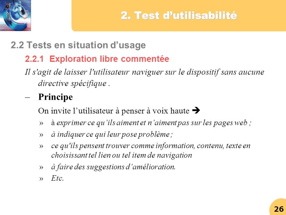 2. Test d'utilisabilité 2.2 Tests en situation d'usage