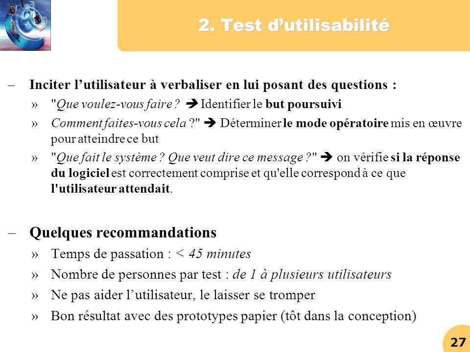 2. Test d'utilisabilité Quelques recommandations