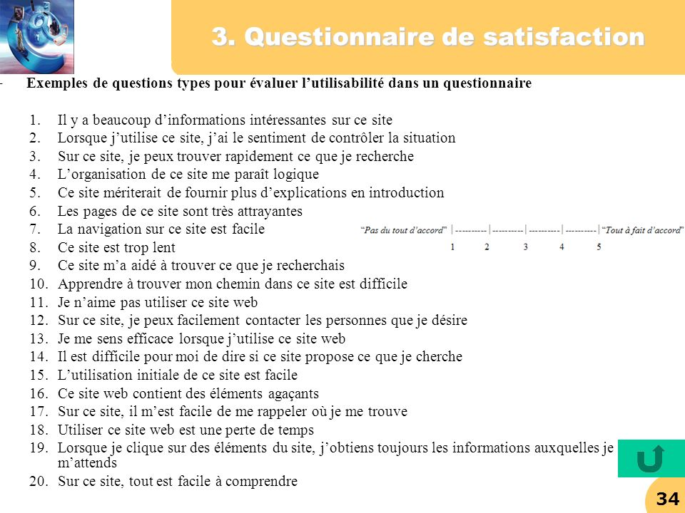 3. Questionnaire de satisfaction