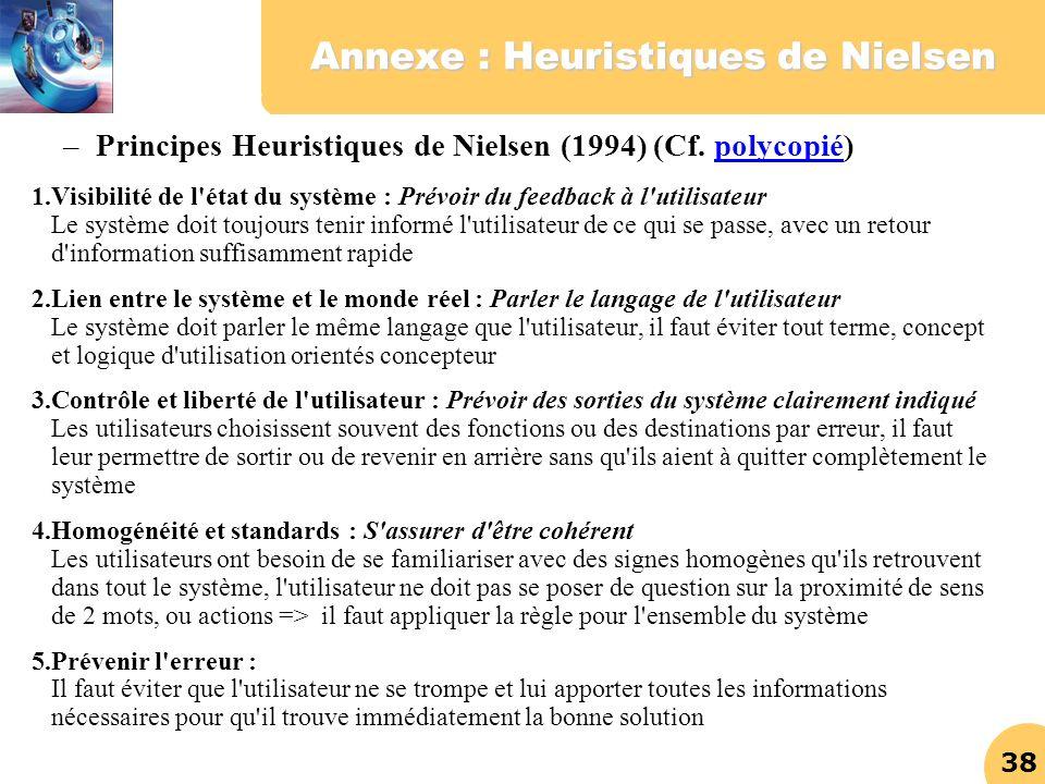 Annexe : Heuristiques de Nielsen