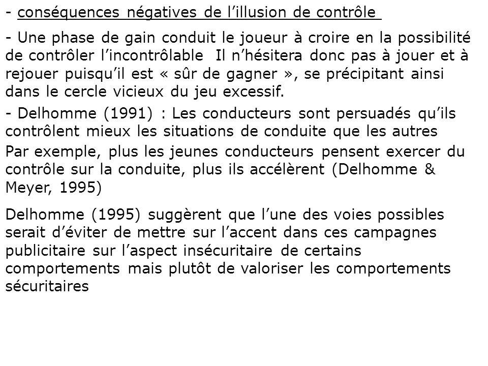 - conséquences négatives de l'illusion de contrôle