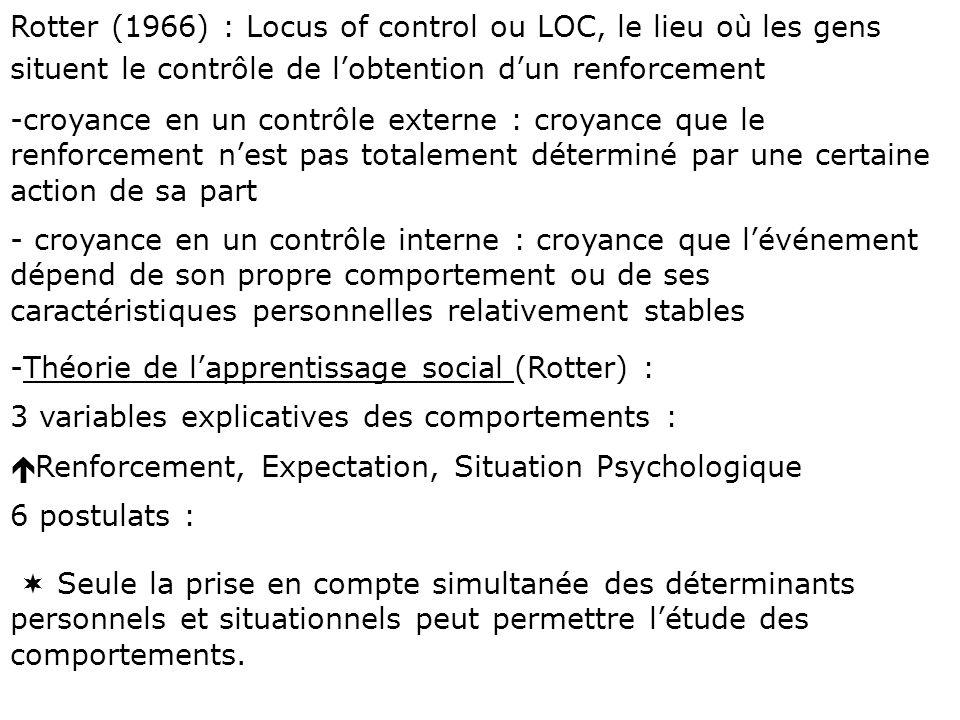 Rotter (1966) : Locus of control ou LOC, le lieu où les gens situent le contrôle de l'obtention d'un renforcement