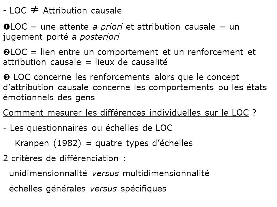 LOC ≠ Attribution causale