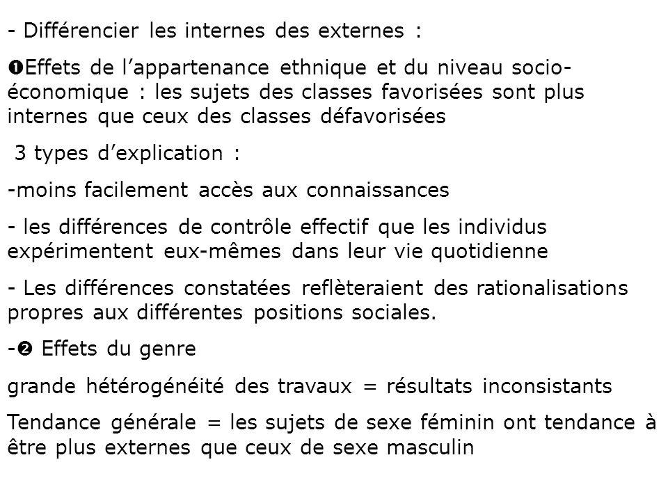 Différencier les internes des externes :