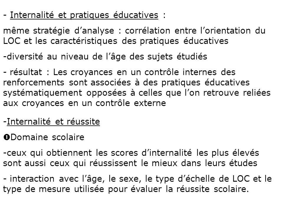 - Internalité et pratiques éducatives :