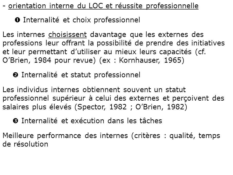 - orientation interne du LOC et réussite professionnelle