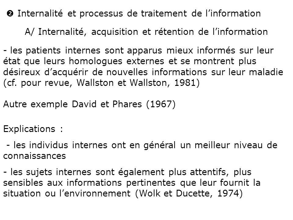  Internalité et processus de traitement de l'information