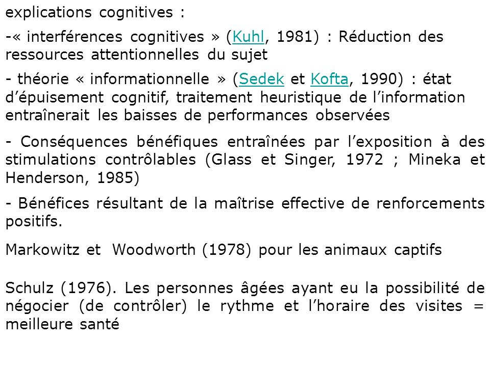 explications cognitives :