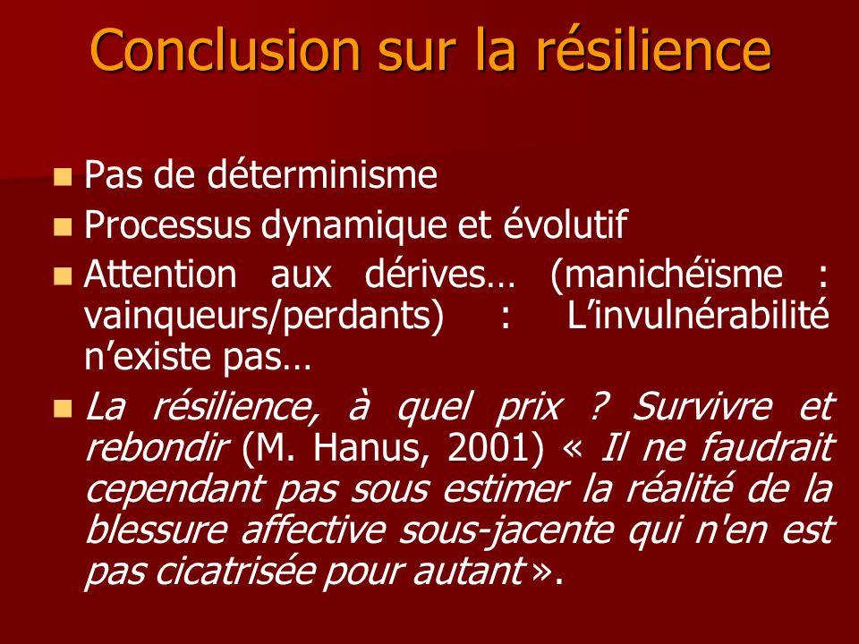 Conclusion sur la résilience