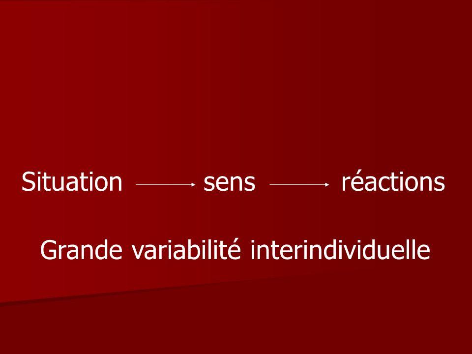 Situation sens réactions Grande variabilité interindividuelle