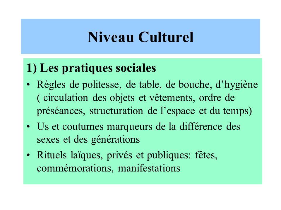 Niveau Culturel 1) Les pratiques sociales