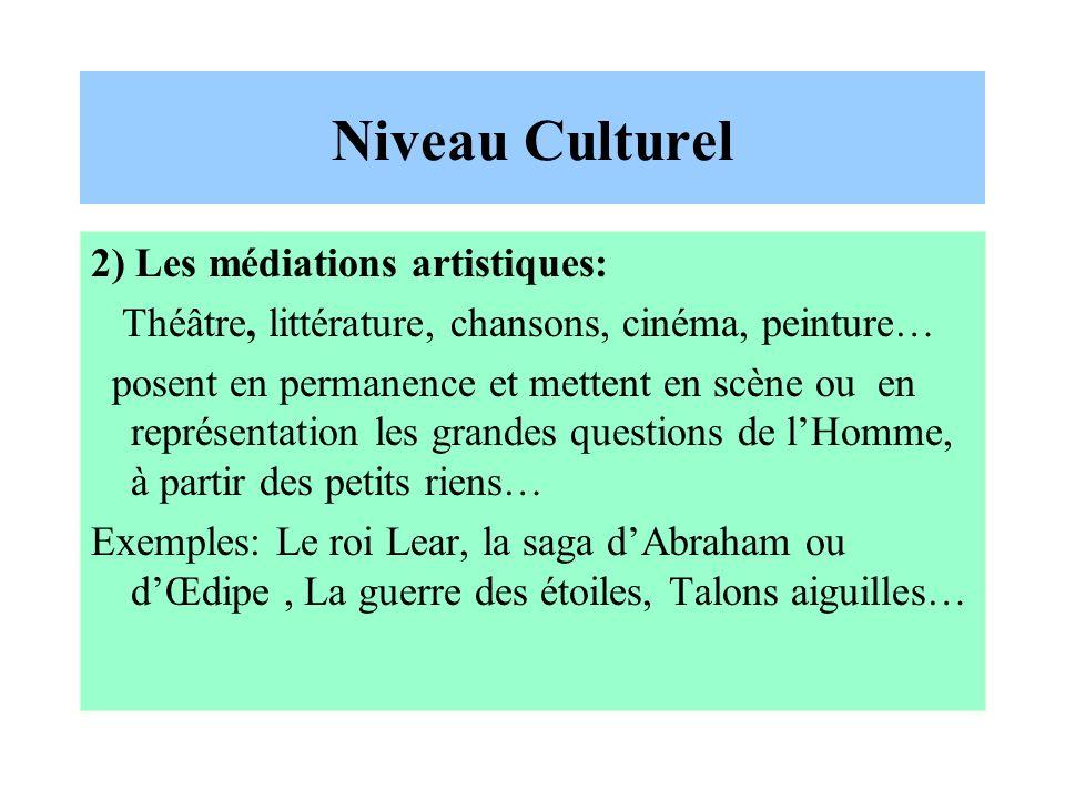 Niveau Culturel 2) Les médiations artistiques: