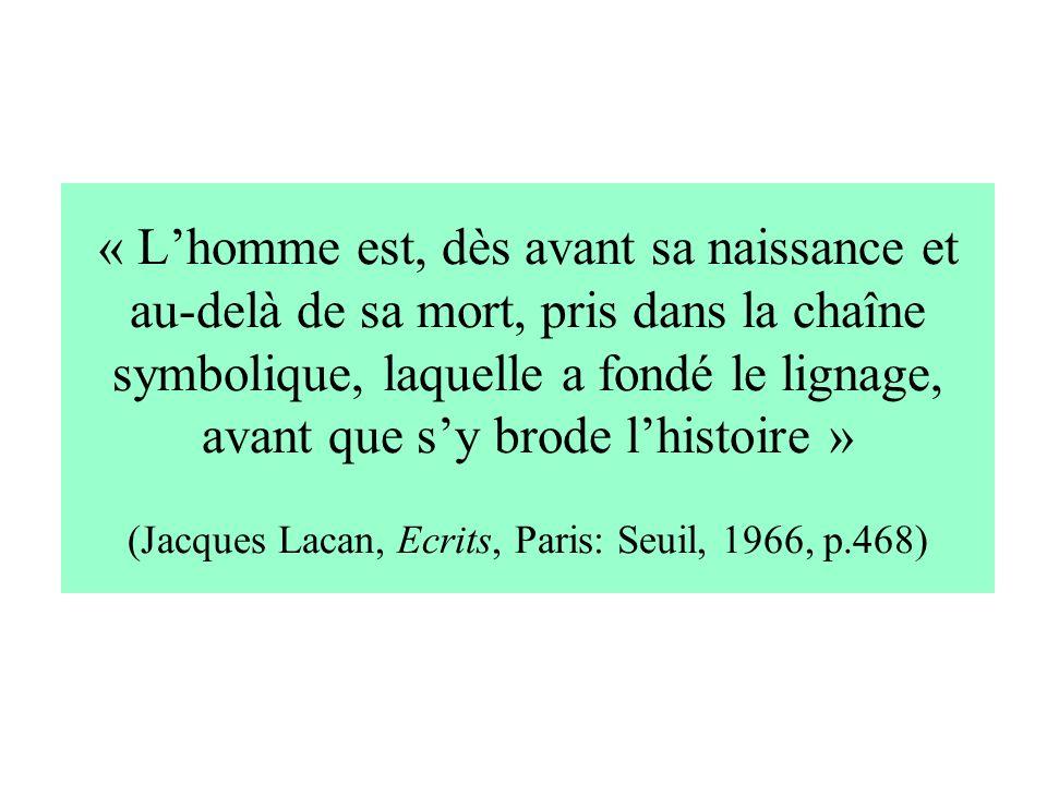 « L'homme est, dès avant sa naissance et au-delà de sa mort, pris dans la chaîne symbolique, laquelle a fondé le lignage, avant que s'y brode l'histoire » (Jacques Lacan, Ecrits, Paris: Seuil, 1966, p.468)