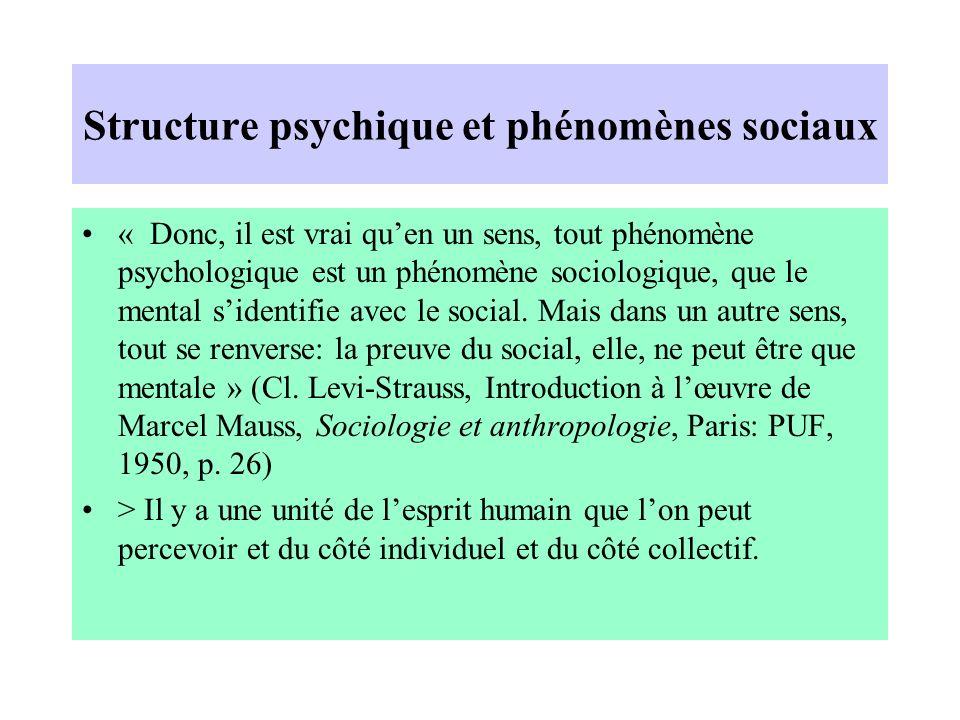Structure psychique et phénomènes sociaux