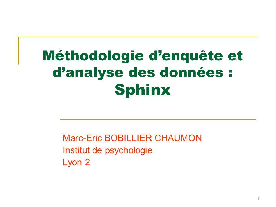 Méthodologie d'enquête et d'analyse des données : Sphinx