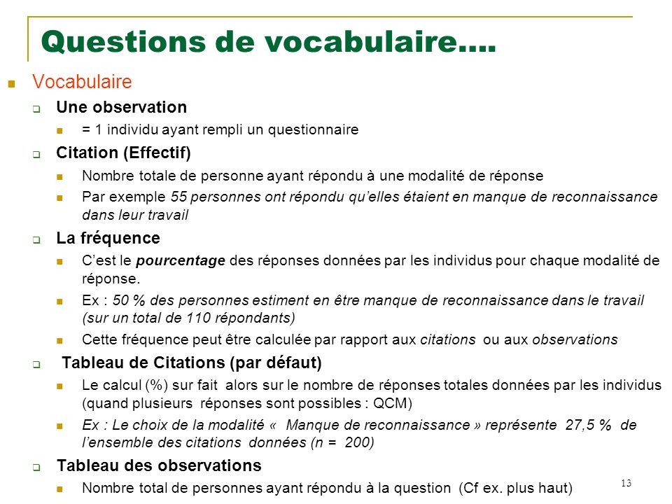 Questions de vocabulaire….