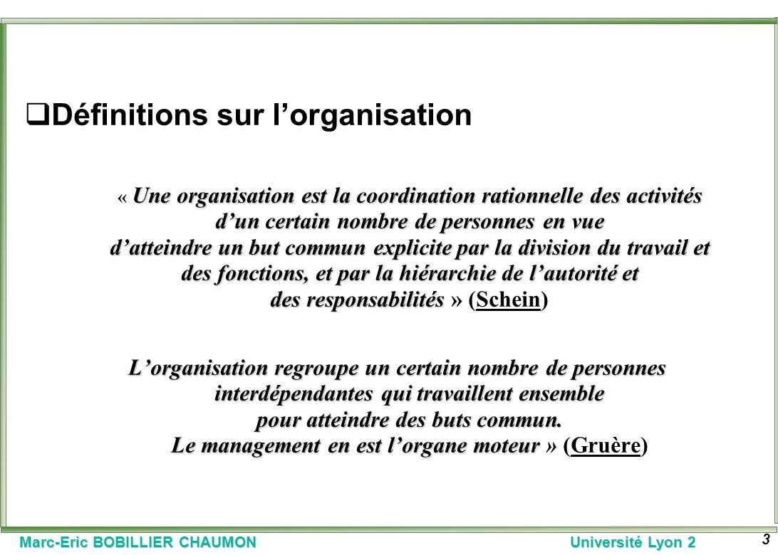 Définitions sur l'organisation