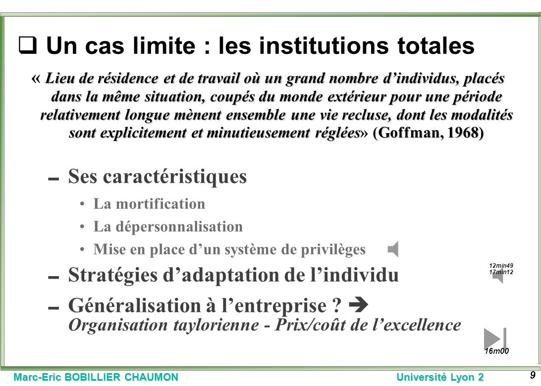Un cas limite : les institutions totales