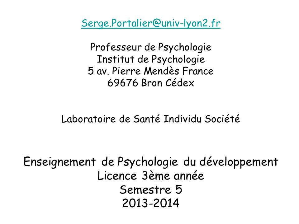 Enseignement de Psychologie du développement Licence 3ème année