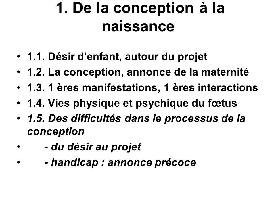 1. De la conception à la naissance