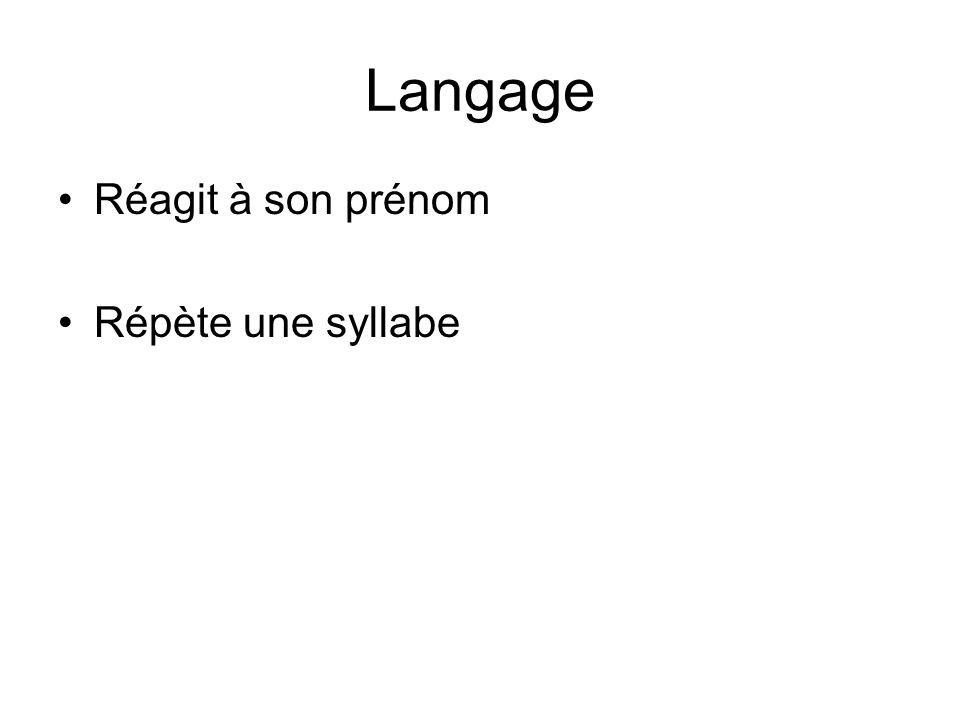 Langage Réagit à son prénom Répète une syllabe