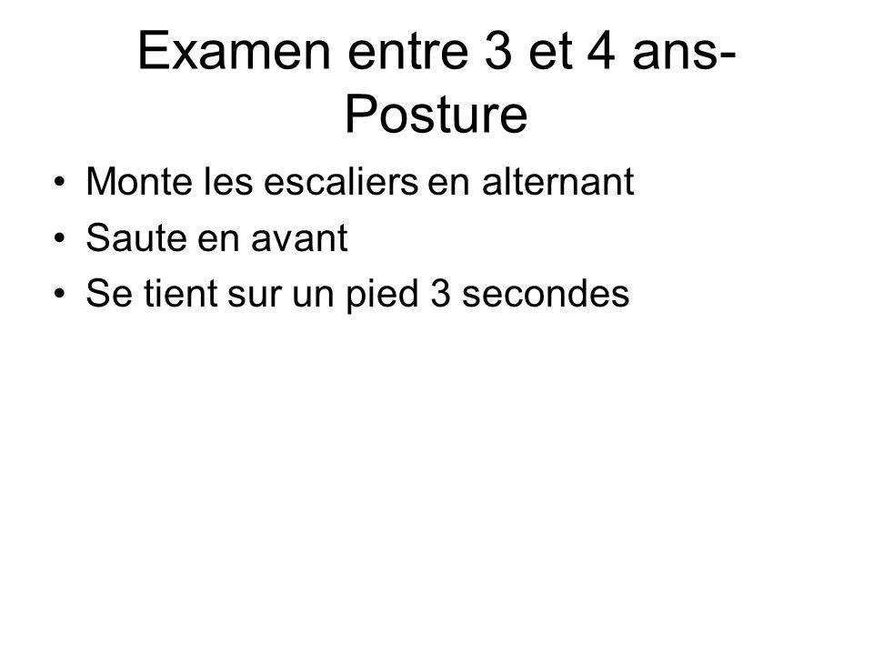 Examen entre 3 et 4 ans- Posture