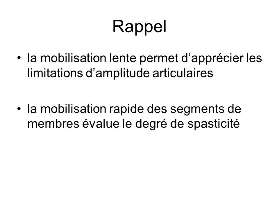 Rappel la mobilisation lente permet d'apprécier les limitations d'amplitude articulaires.