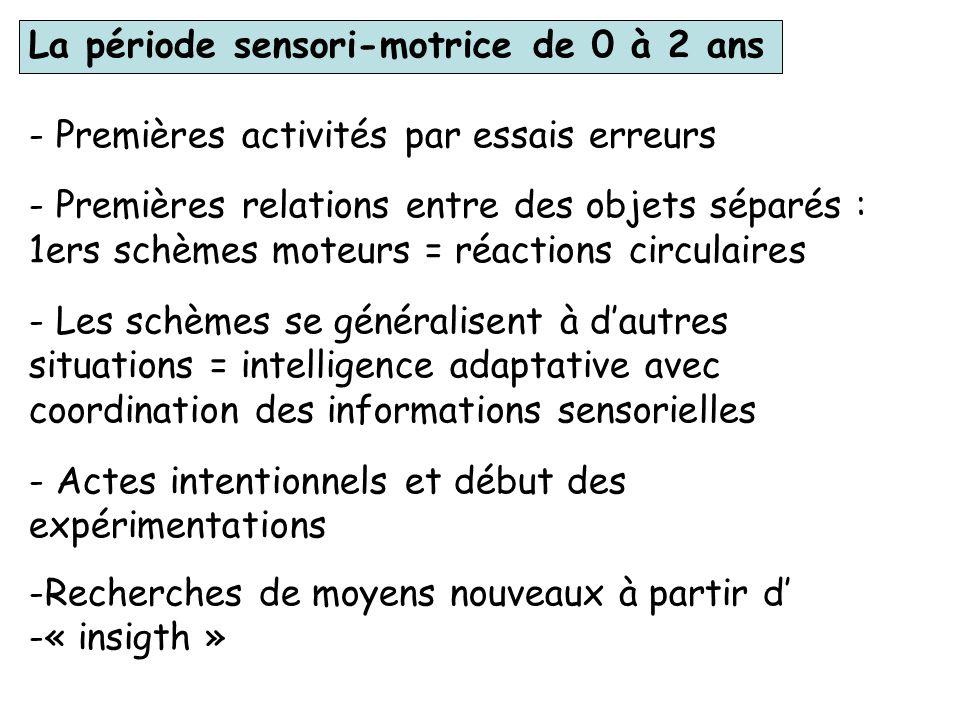 La période sensori-motrice de 0 à 2 ans
