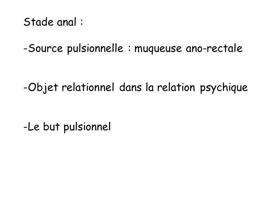 Stade anal : Source pulsionnelle : muqueuse ano-rectale. Objet relationnel dans la relation psychique.