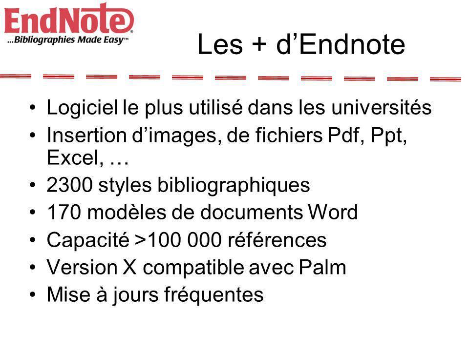 Les + d'Endnote Logiciel le plus utilisé dans les universités