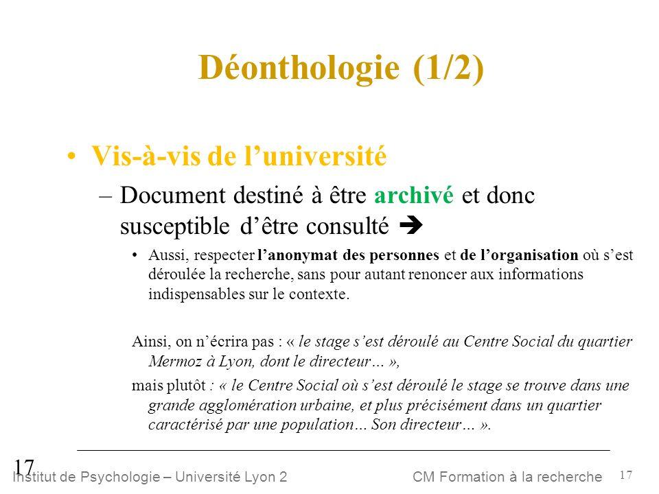 Déonthologie (1/2) Vis-à-vis de l'université