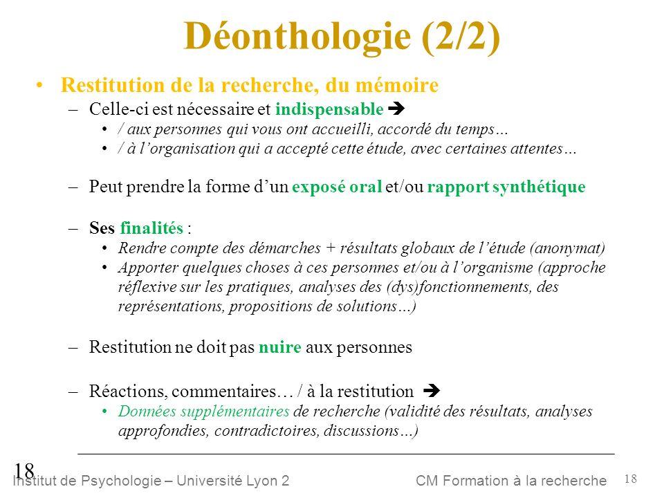 Déonthologie (2/2) Restitution de la recherche, du mémoire