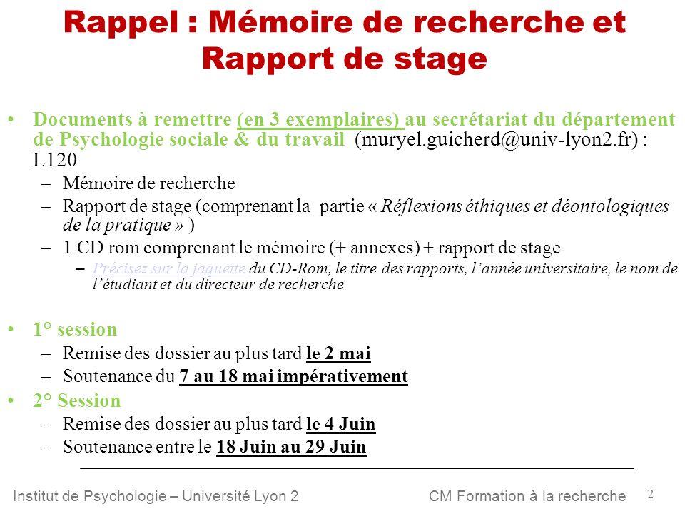 Rappel : Mémoire de recherche et Rapport de stage