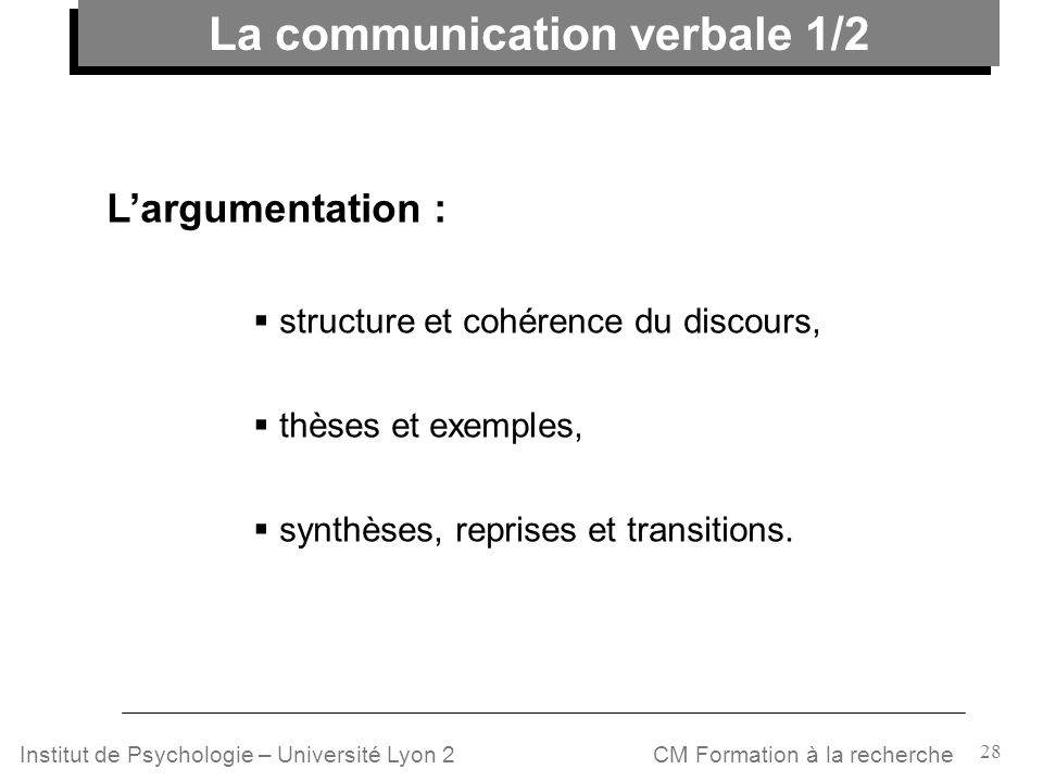 La communication verbale 1/2