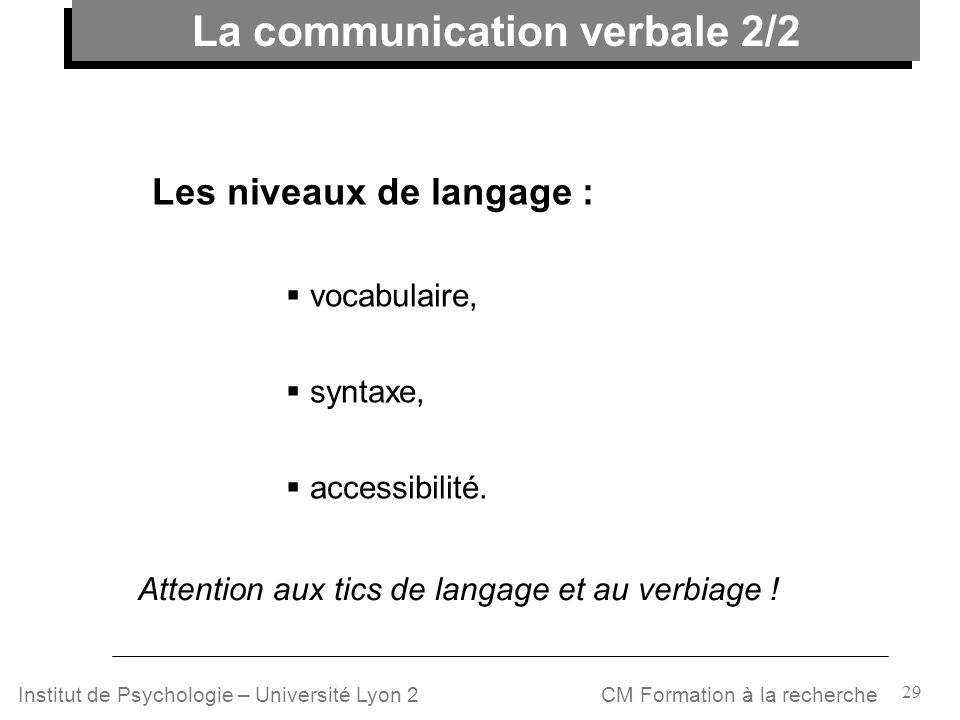 La communication verbale 2/2