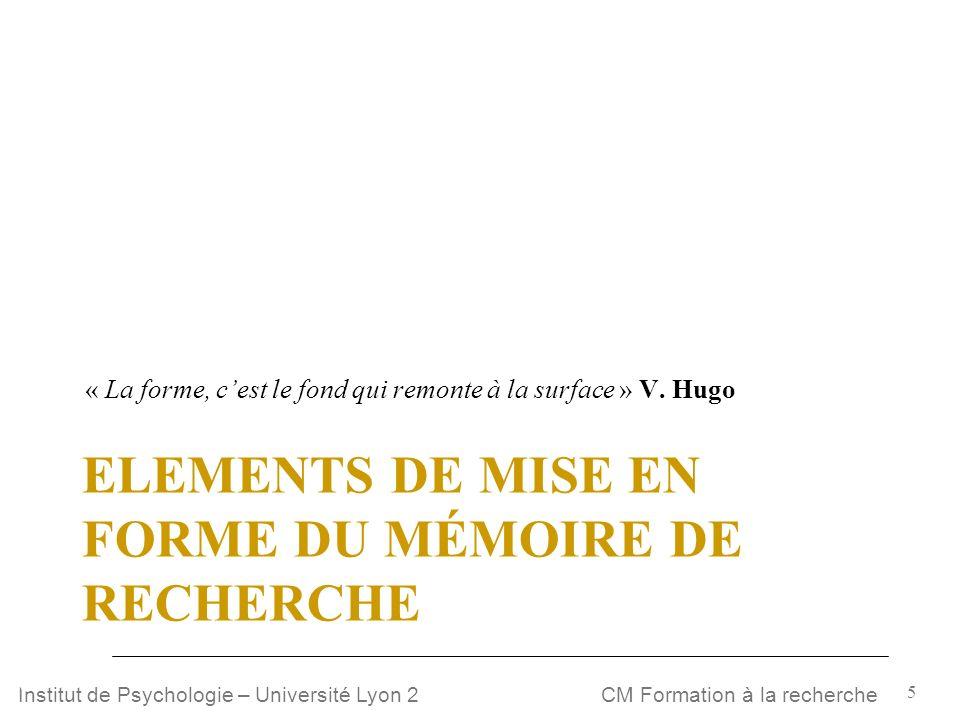 Elements de mise en forme du mémoire de recherche