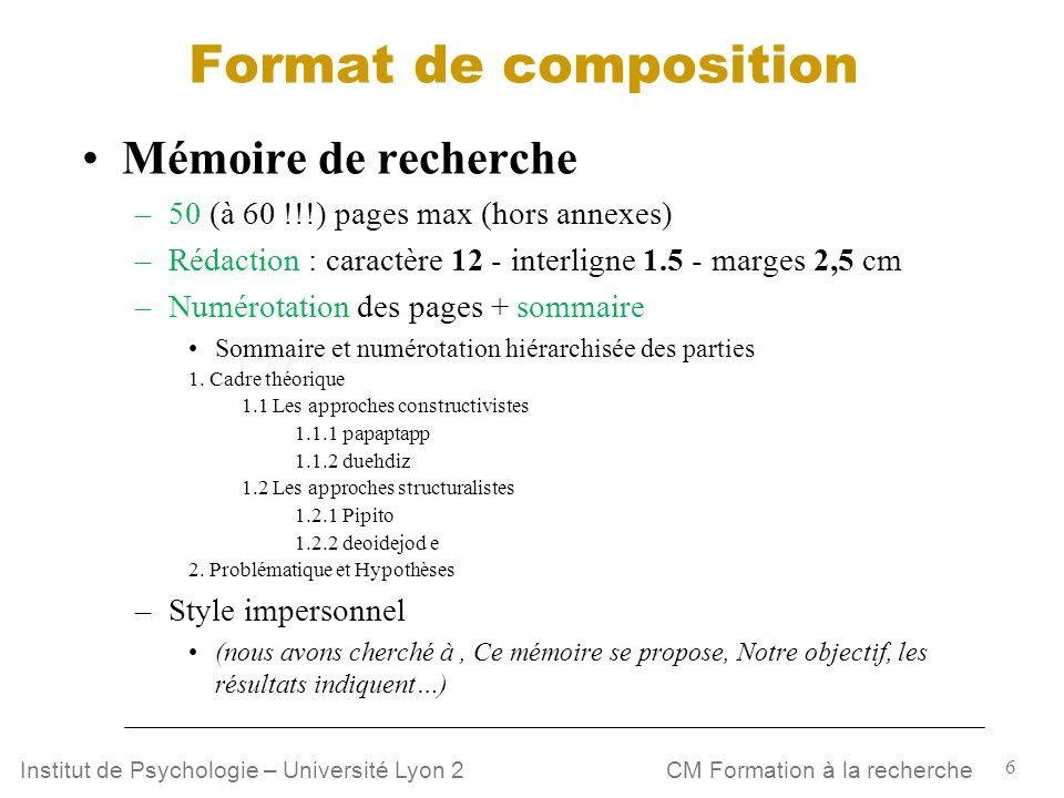 Format de composition Mémoire de recherche