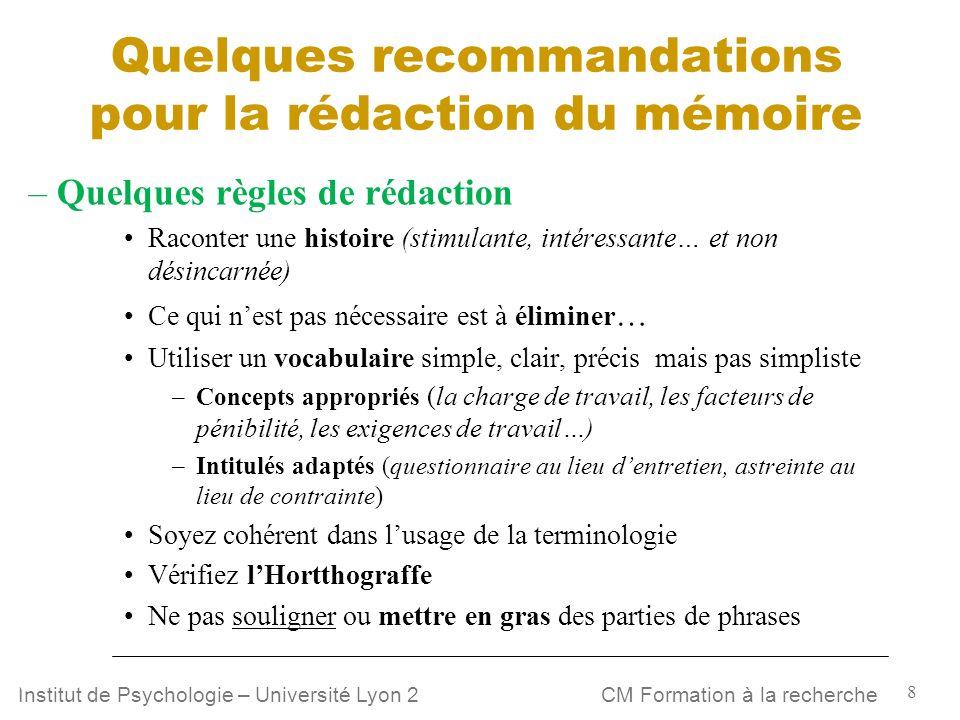 Quelques recommandations pour la rédaction du mémoire