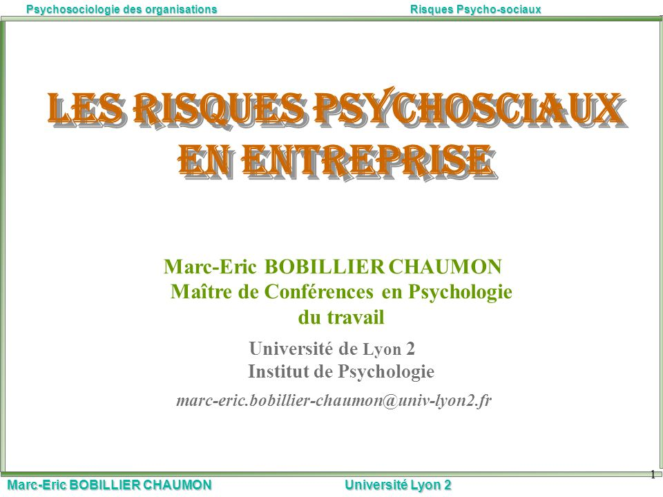 Les risques psychosciaux en entreprise