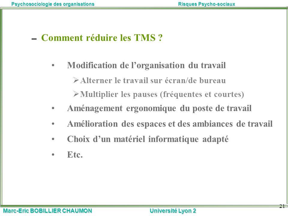 Comment réduire les TMS